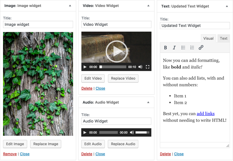 New widgets in WordPress 4.8