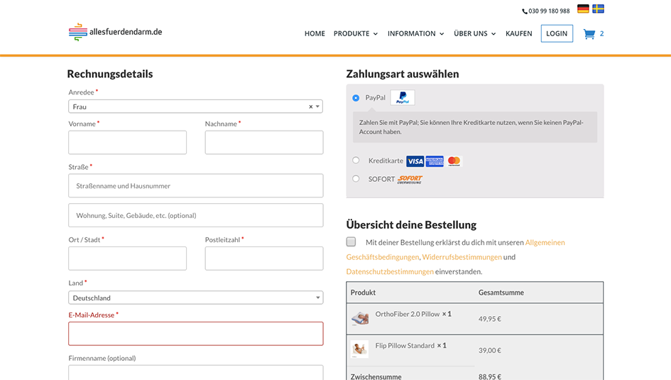 Customised WooCommerce checkout page