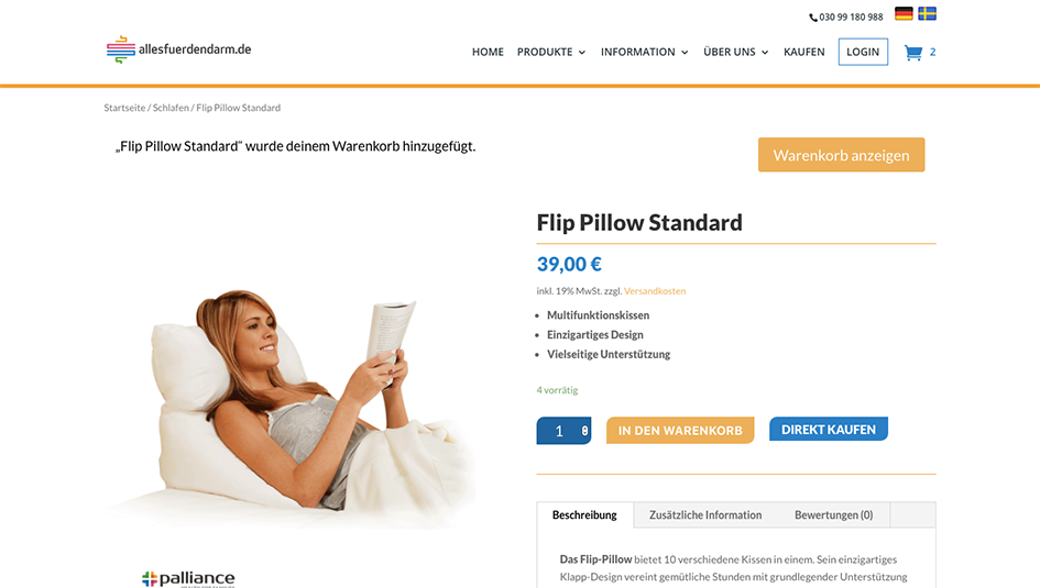 Single product page